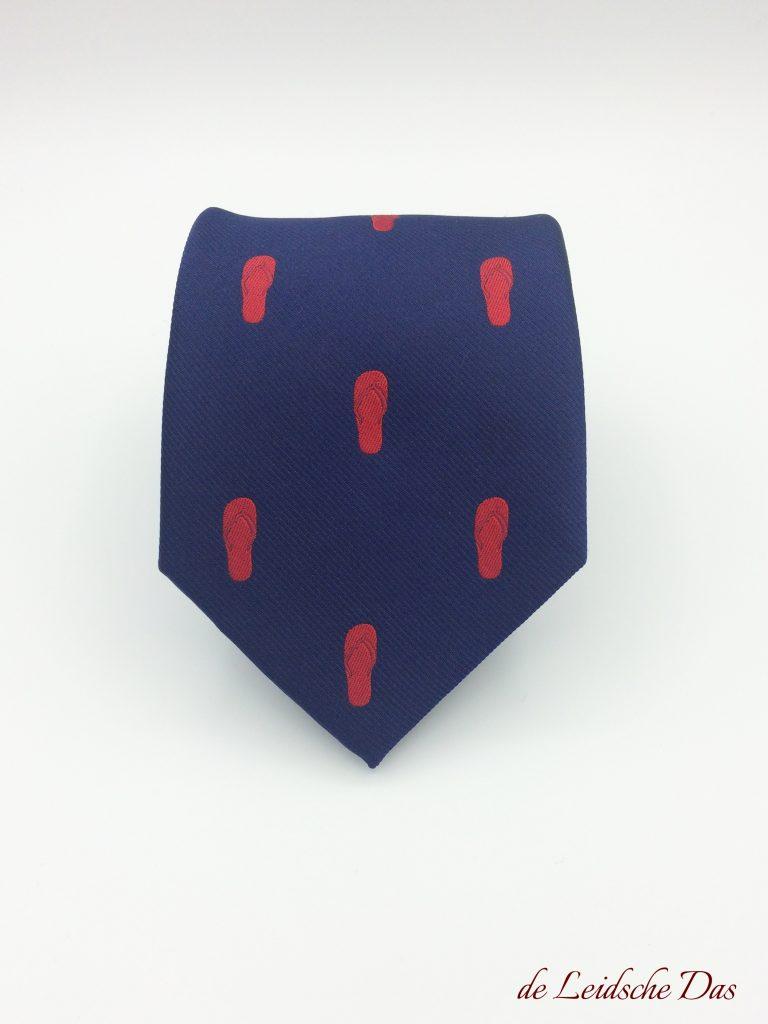 Custom neckties we made for a manufacturer of flip-flops, custom-designed neckties with logo