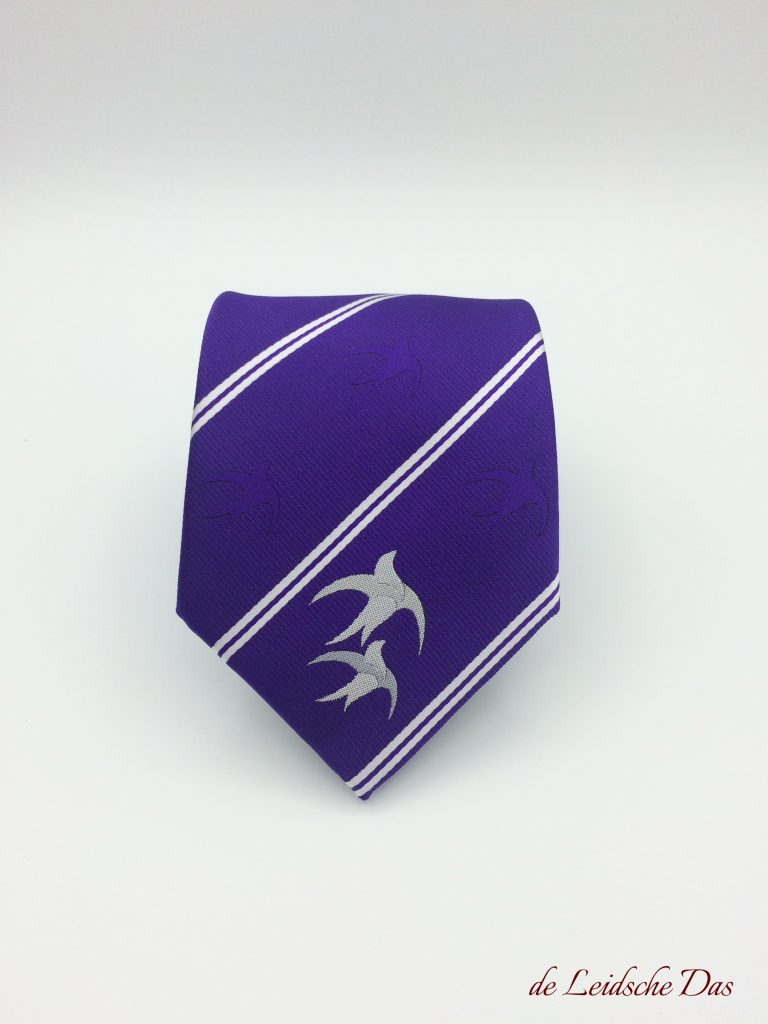 Custom neckties for clubs with club logo at the tip, personalized club neckties in club colors