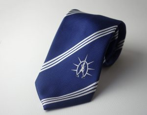Custom club neckties with logo, tailor made ties woven in your personalized necktie design