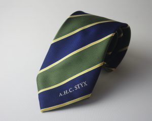 Custom woven neckties with logo & text, club ties in a custom made necktie design