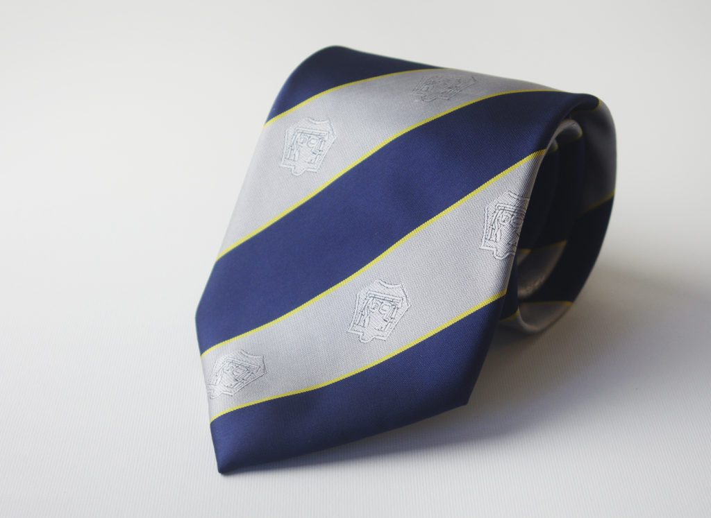 Custom striped club neckties with recurring logos, custom ties with club crests woven in club colors