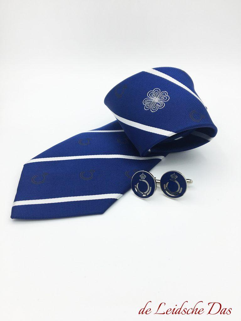 Woven custom necktie with matching cufflinks, custom logo necktie & custom logo cufflinks