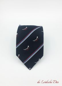 Woven logo tie with stripes and recurring logo, custom made neckties with your logo