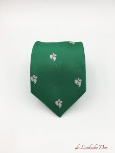 Neckties in a solid color with recurring logos, woven logo tie in your custom club tie design