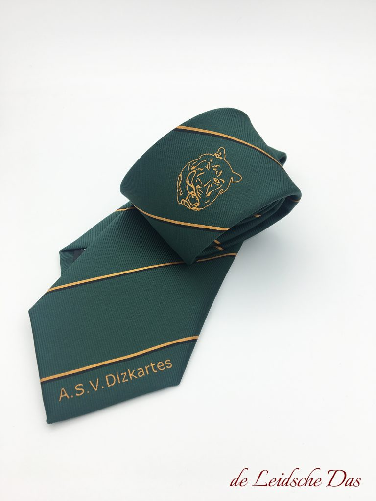 Custom necktie with club name in club colors and club logo, woven logo necktie for clubs