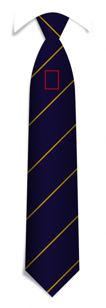 Logo positions custom ties, under knot logo position for your custom made neckties