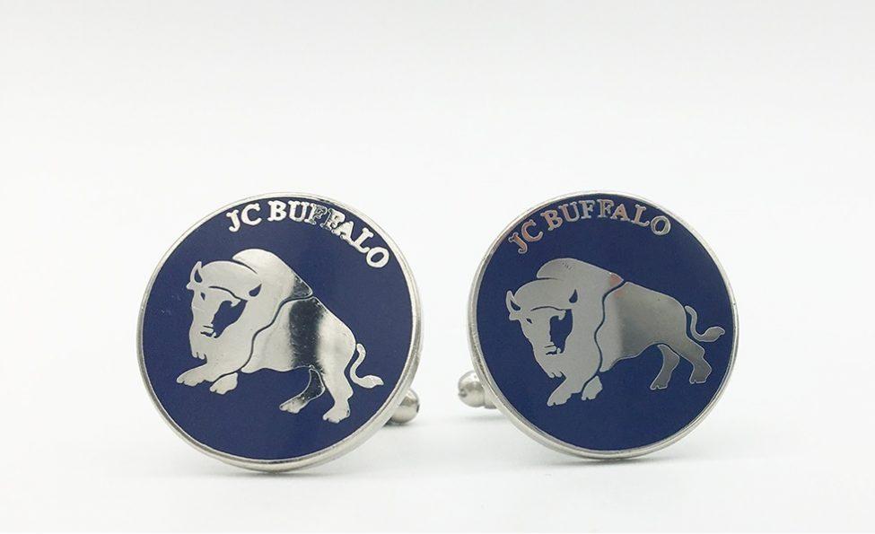 Custom cufflinks with buffalo logo, custom made cufflinks with text and logo made to order