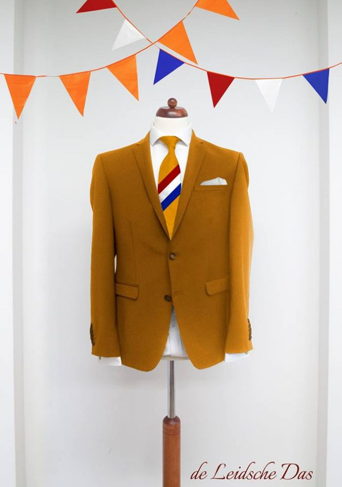 Custom made necktie with Dutch flag for orange committee King's Day, custom neckties with logo