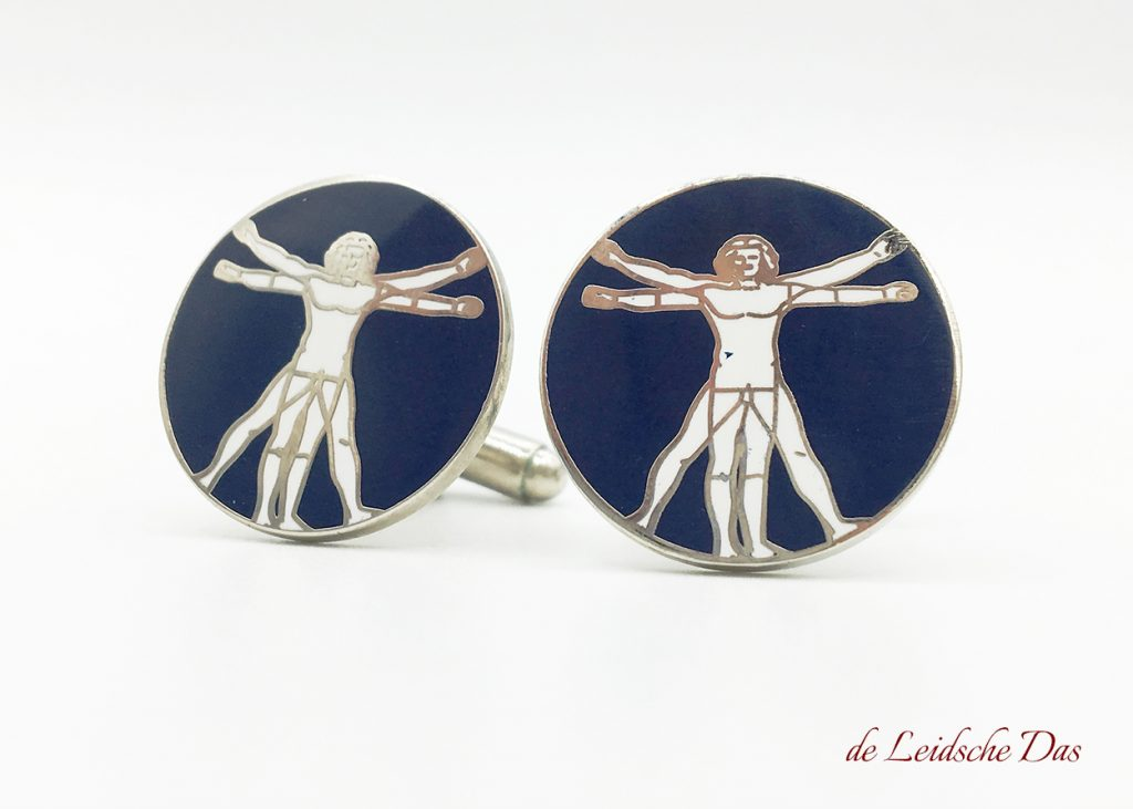 These custom cufflinks of the vitruvian man we made to order for a association, personal cufflinks