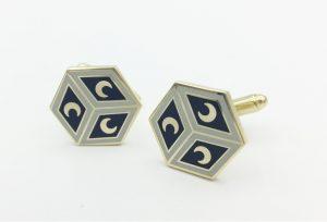 Custom cufflinks hexagon, design to floor mosaic duomo Siena Italy