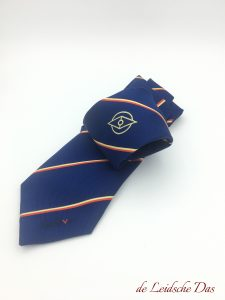 Woven logo tie with centered club logo and stripes in club colors, custom neckties with your logo