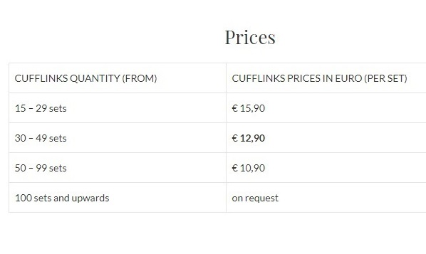 Prices custom cufflinks