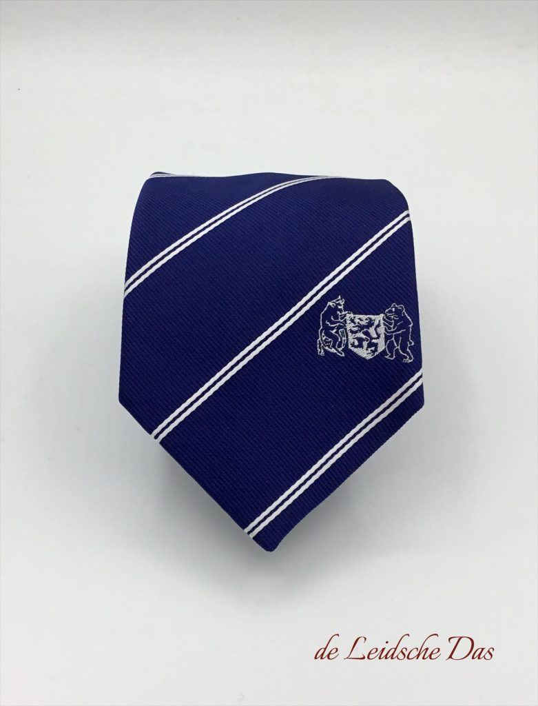 Blue personalized tie with logo and white lines custom woven in high-quality microfiber