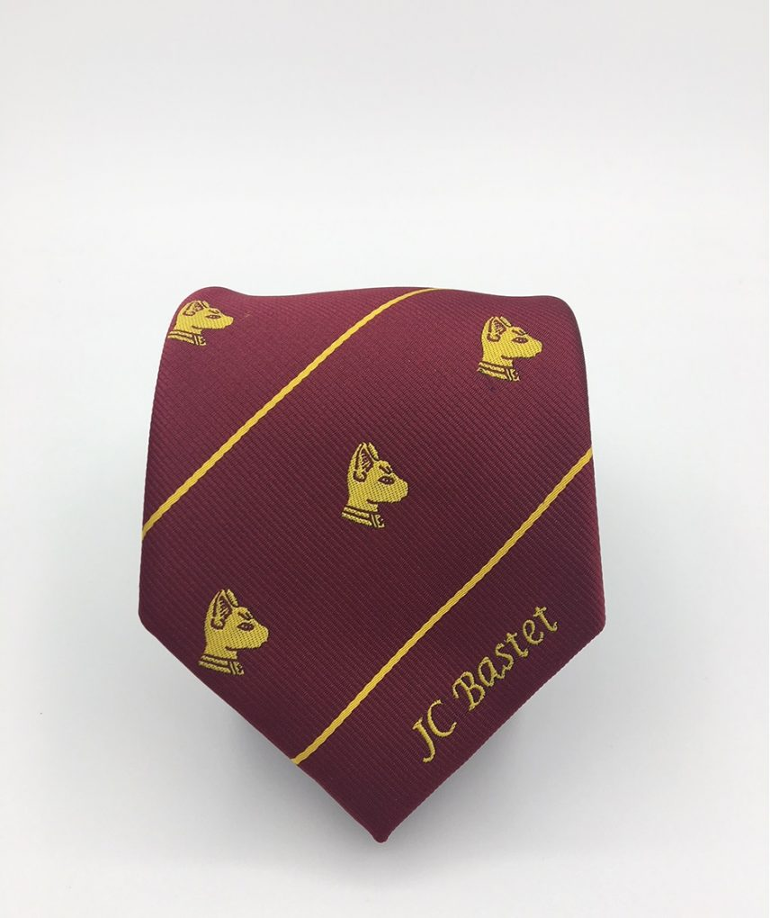 Custom tie for club members, custom ties woven in club colors with club logos and text