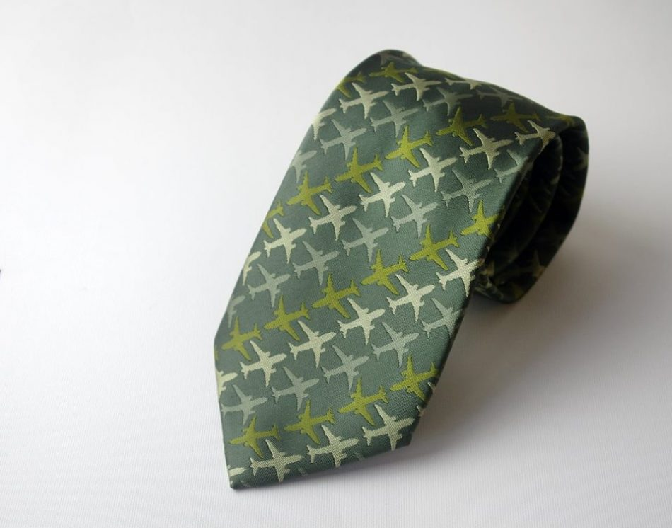Custom Woven Green Neckties with Airplane Logo