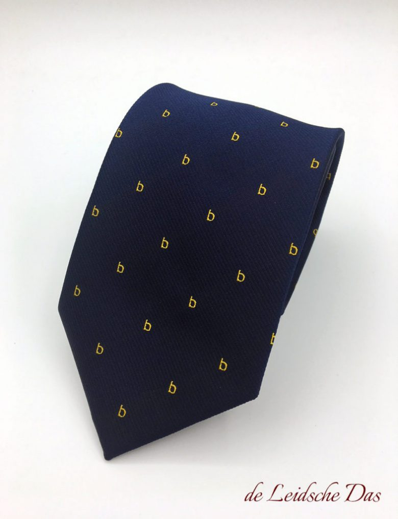 Corporate necktie custom woven with recurring logo, custom ties for your business