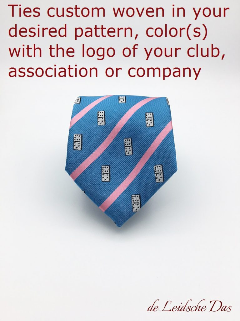 Blue with pink stripes custom woven necktie with logo