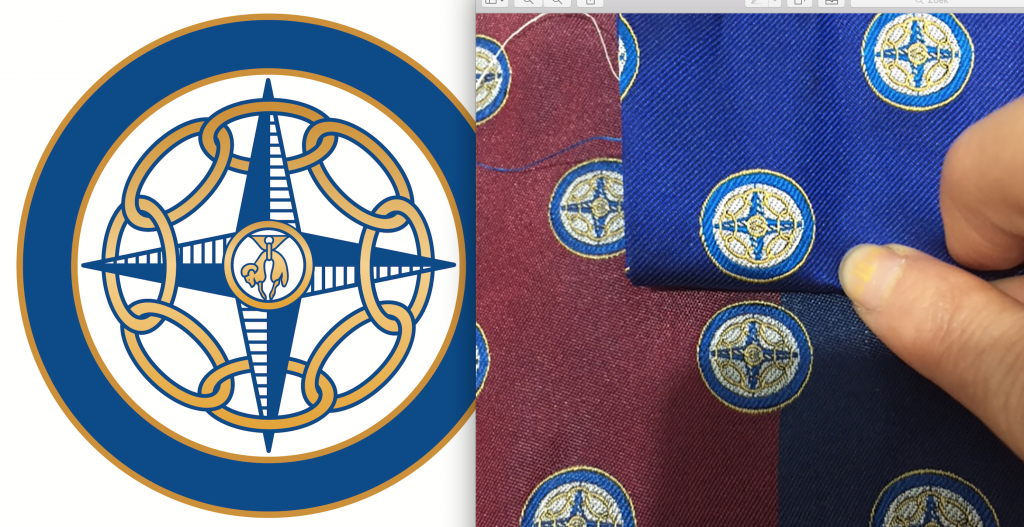 Tailor made club tie with a recurring club logo, custom woven club ties in a personalized tie design