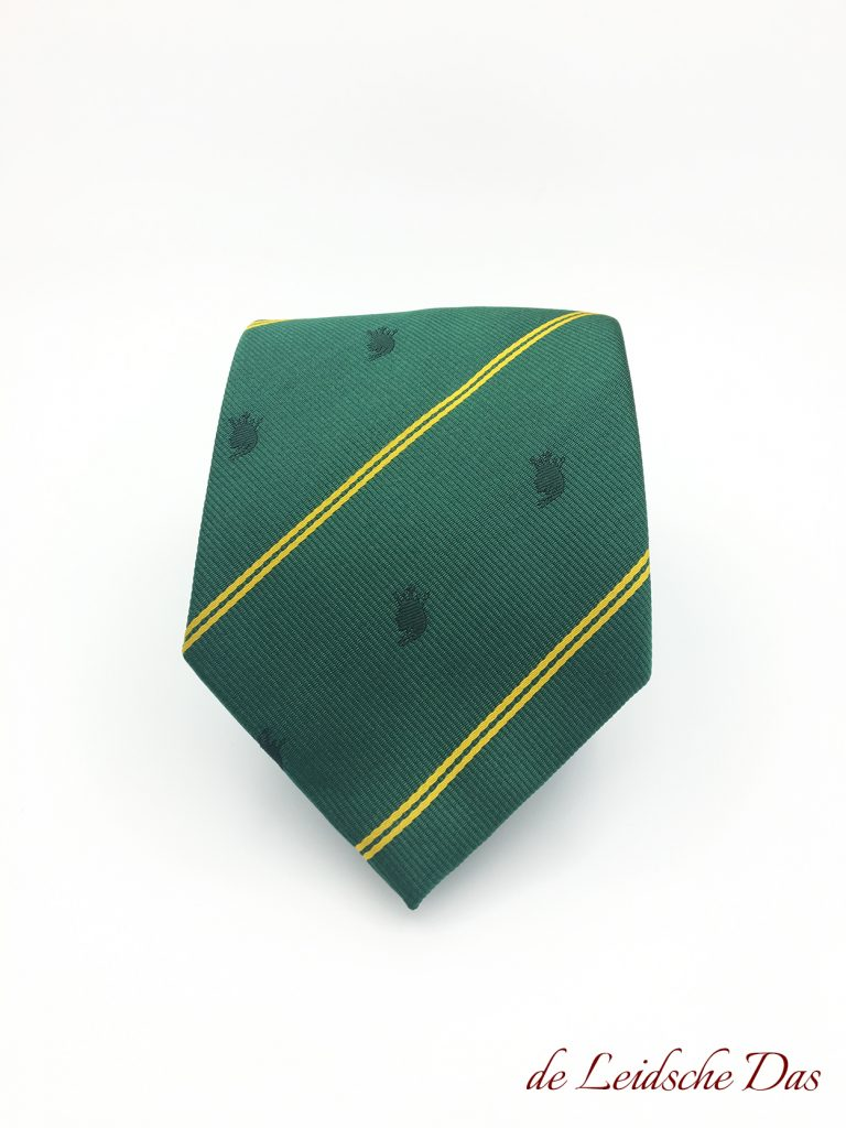 Custom made green neckties with yellow lines and logo, Personalized ties in a custom tie design