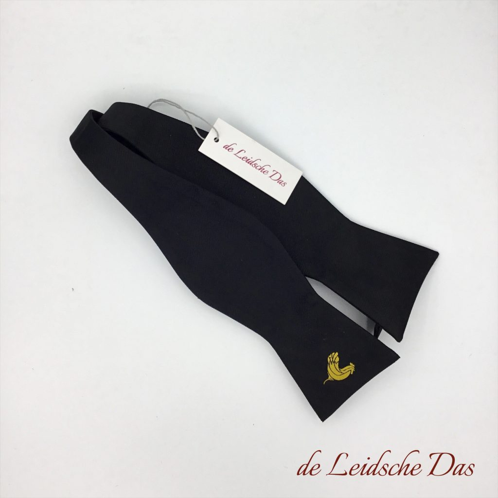 Black bow ties with a logo, custom made bow ties in a personalized design self-tie & pre-tied