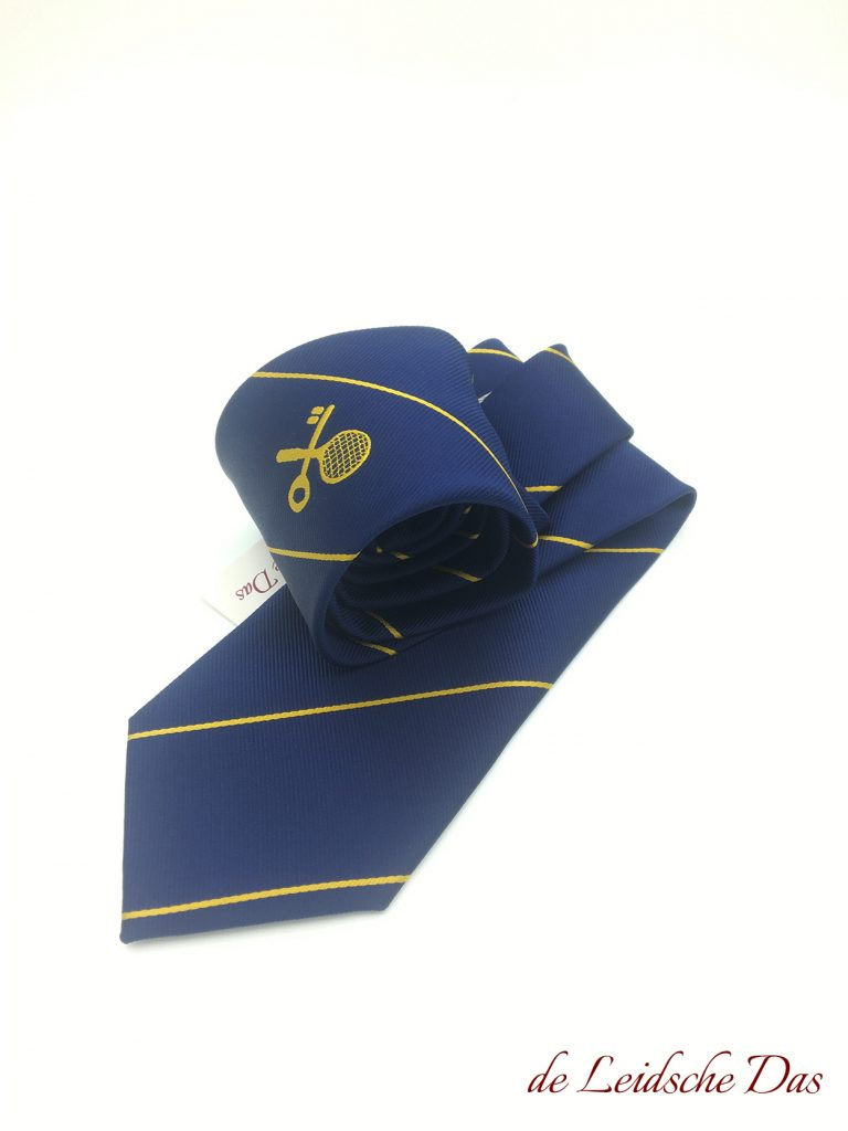 Tennis club tie we made to order in the club colors with club logo, custom made club ties