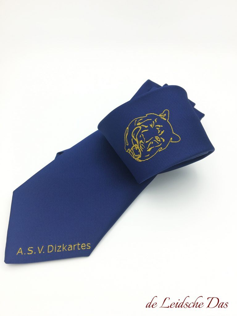 Blue custom tie with a club logo and text, Custom made club ties woven in a custom tie design