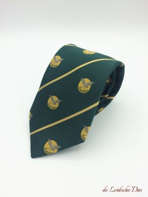 Green customized neckties custom woven with lines and recurring company logos, custom logo ties