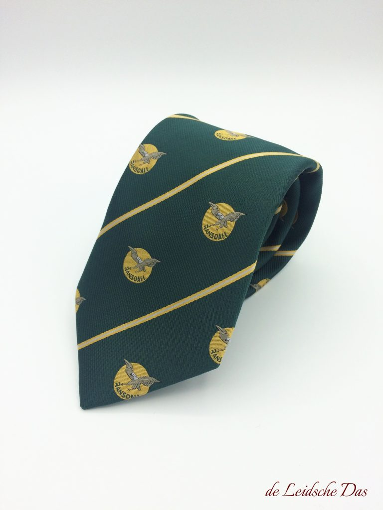 Green company tie with lines and recurring company logos, custom woven ties for companies