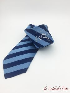 Personalized striped tie with logo, custom woven in dark and light blue, custom logo ties