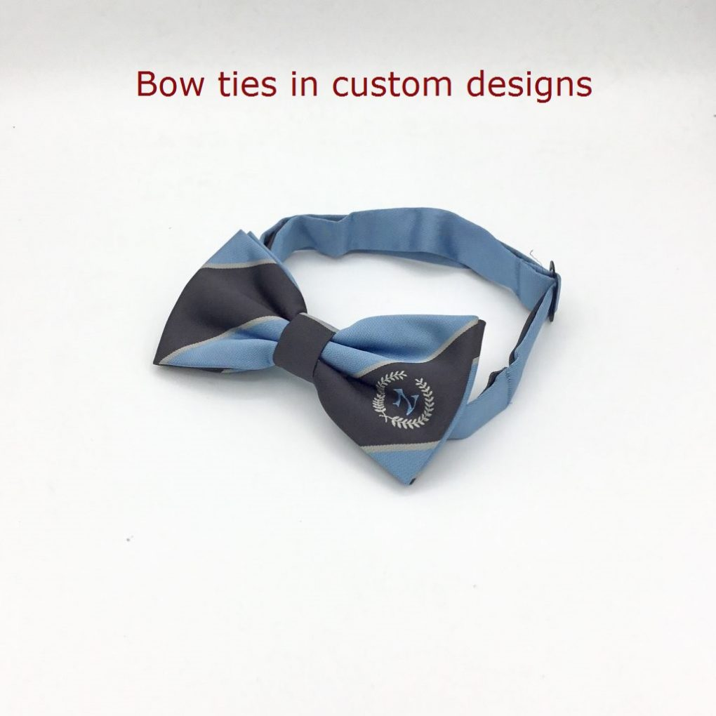 Custom bow tie prices, pre-tied personalized striped bow ties with lines and logo