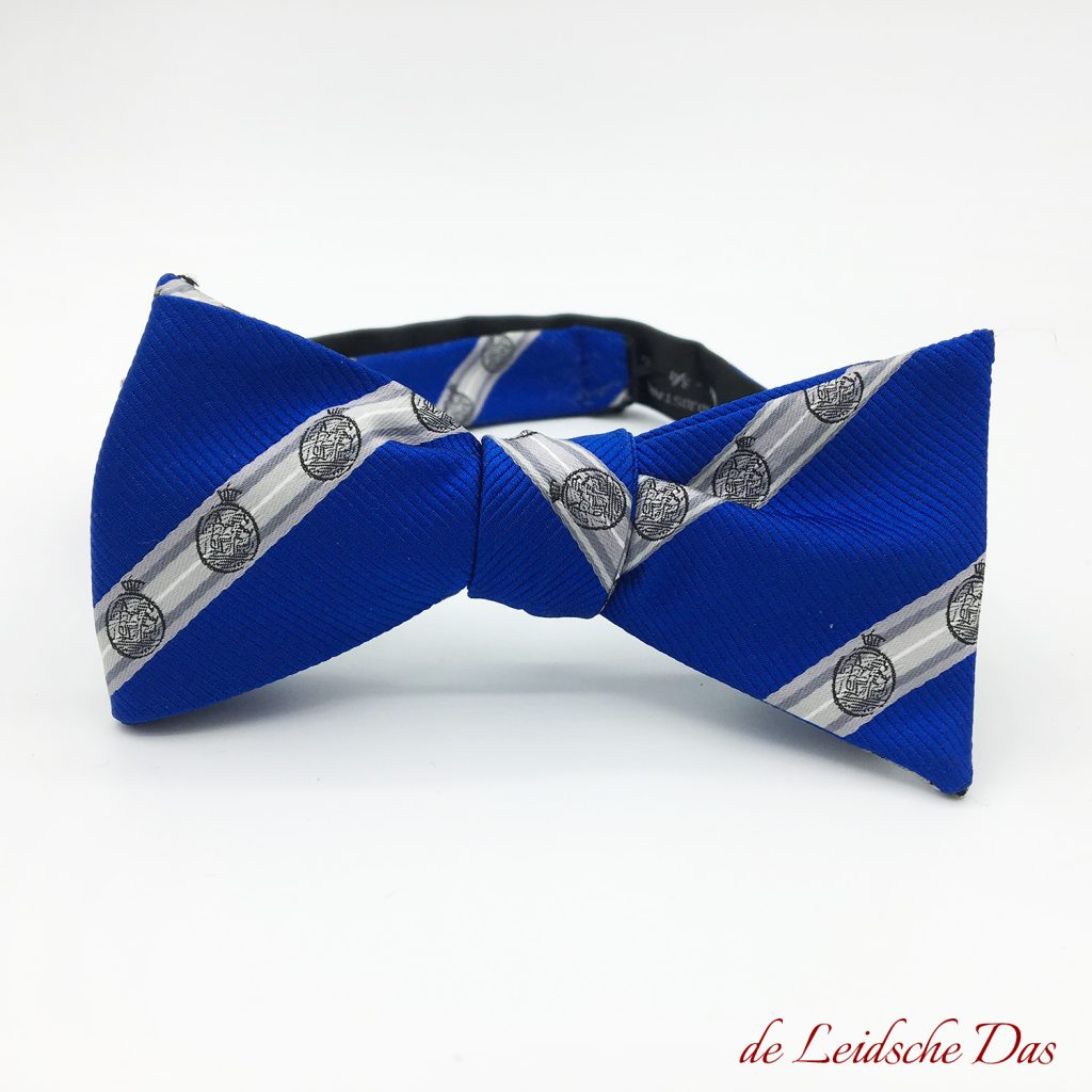 Pre-tied custom striped bow ties, custom woven bow ties in your custom made bowtie design