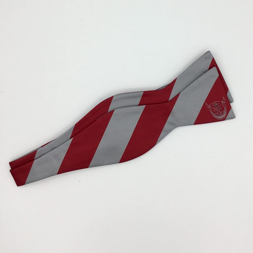 Self-tie custom striped bow ties, custom woven bow ties in the requested colors with a logo