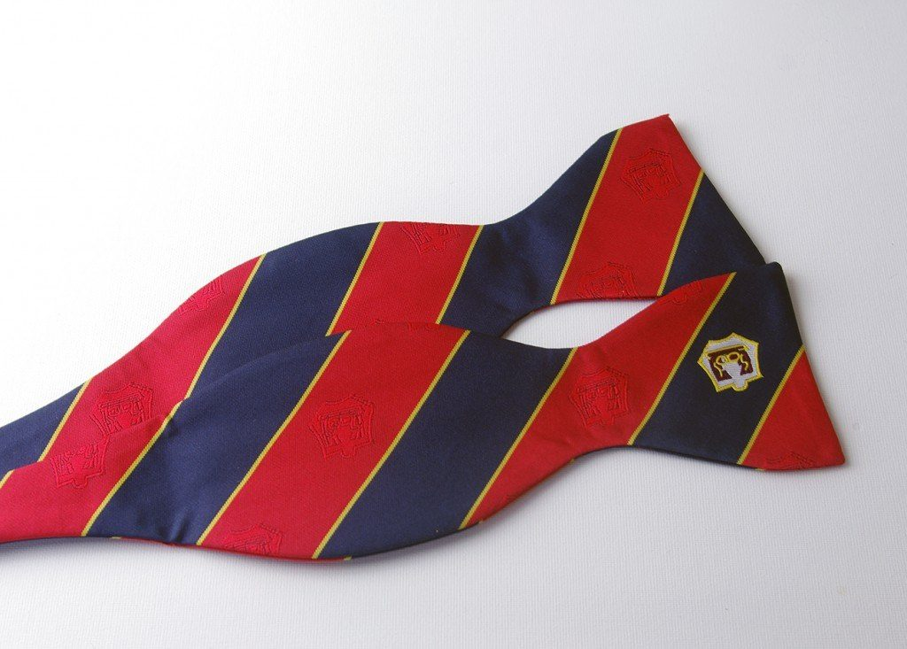 Specially made striped bow ties, self-tied bowtie with logo and subtle recurring logos