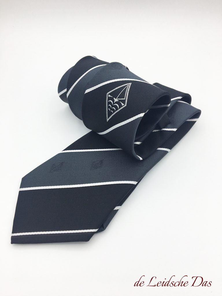 Black & grey striped customized neckties with white lines, centered logo and recurring subtle logos