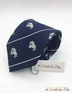 Tailor made business logo ties, custom woven blue ties with recurring logos and white lines