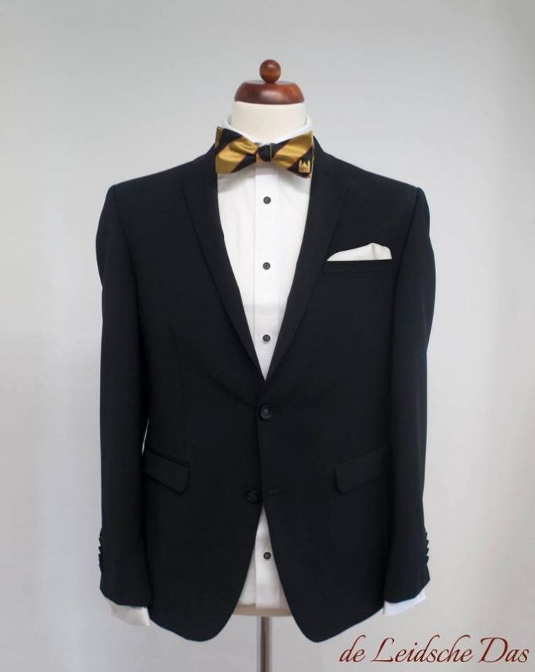 Custom pre-tied bow tie on a tuxedo, Custom self-tie and pre-tied bow ties for special events