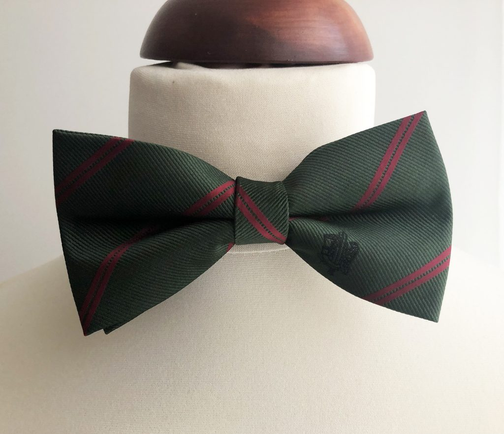 Bespoke bow tie, pre-tied bow ties custom woven in regimental colors for officers dinner