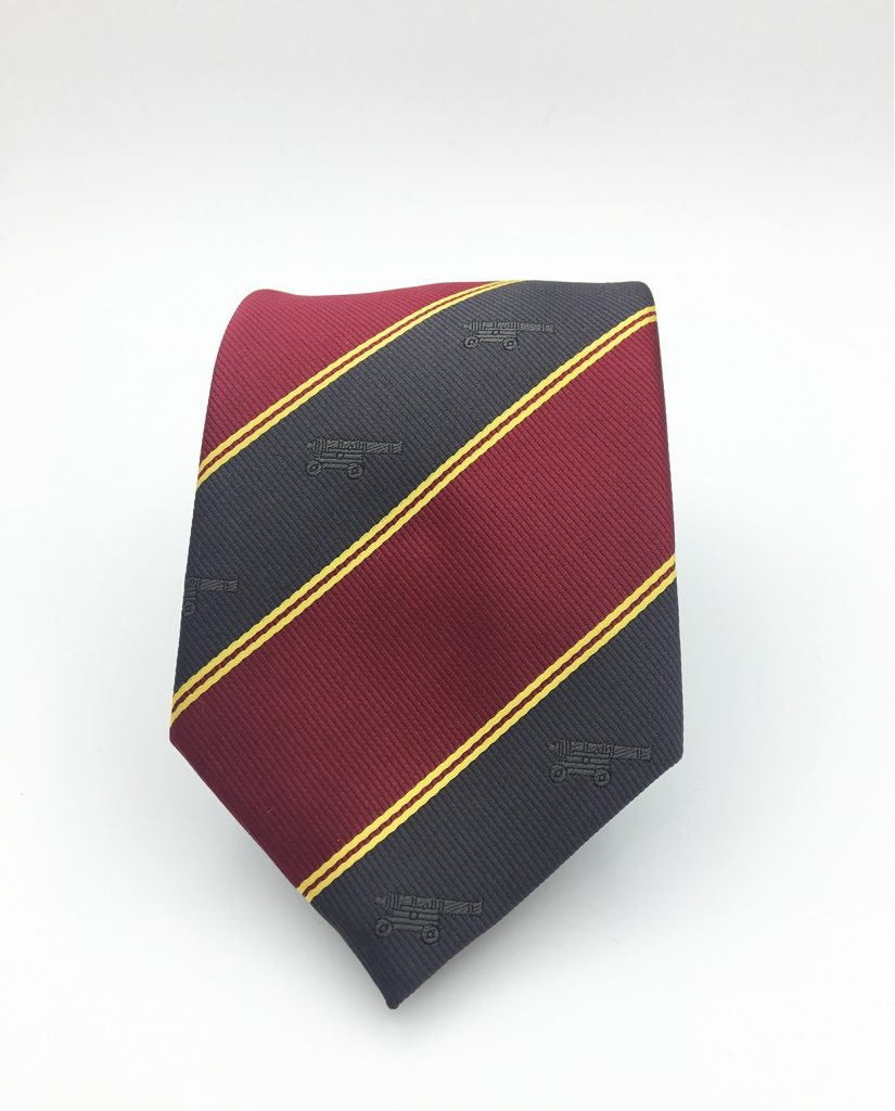 Bespoke striped ties in a client-specific design, custom ties with recurring emblem