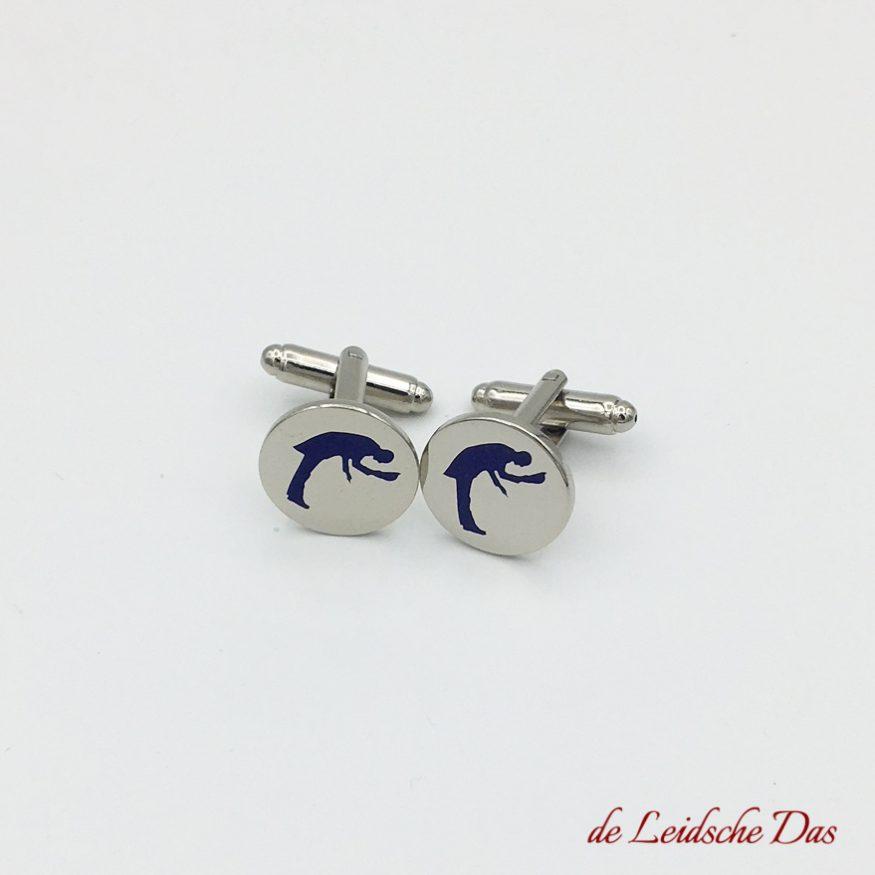 Custom colour cufflinks made in your personalised design, custom logo cufflink