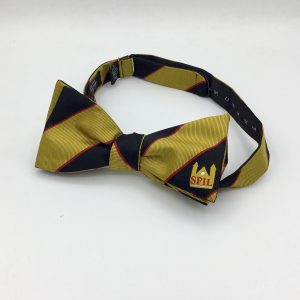 Custom logo bow ties, striped pre-tied bow tie with a logo made in a custom made design