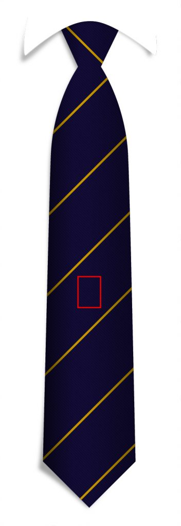 Logo positions custom ties, middle/centered logo position for your custom made neckties.