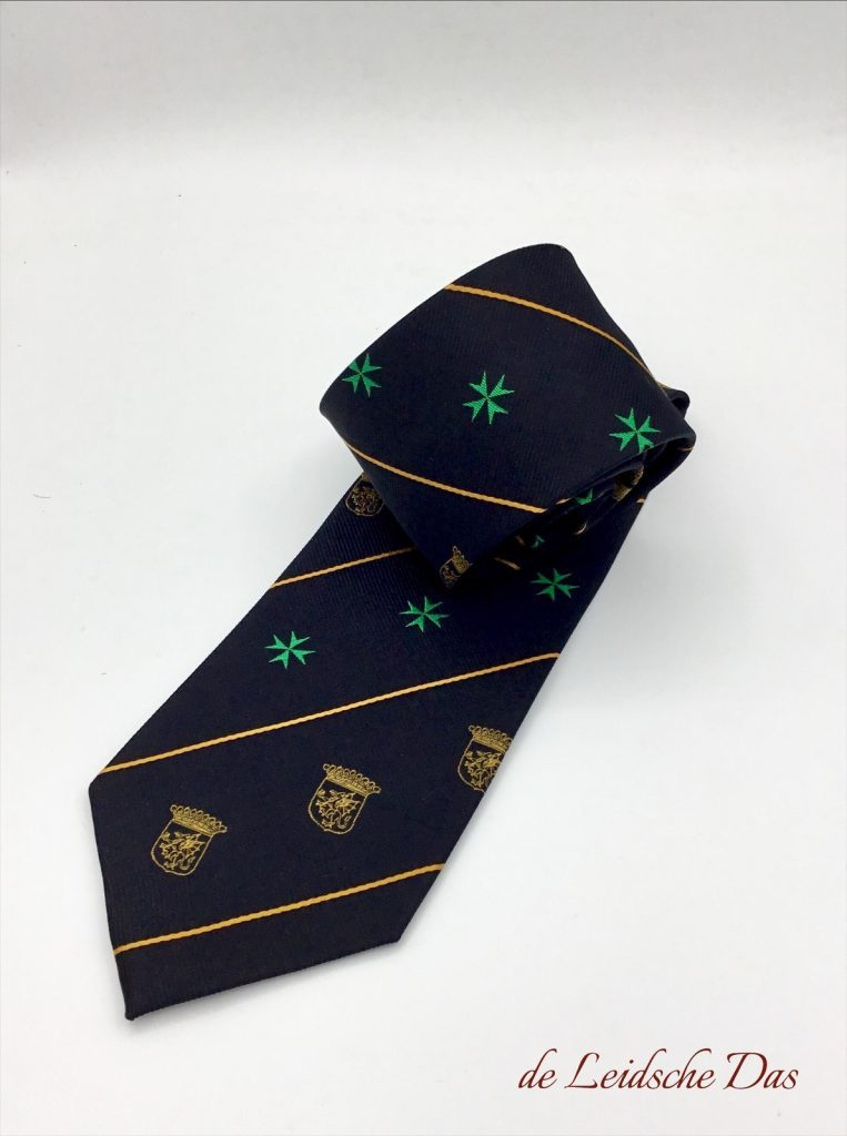 Custom neckties with your coat of arms, custom woven ties in 100% silk in a custom made tie design