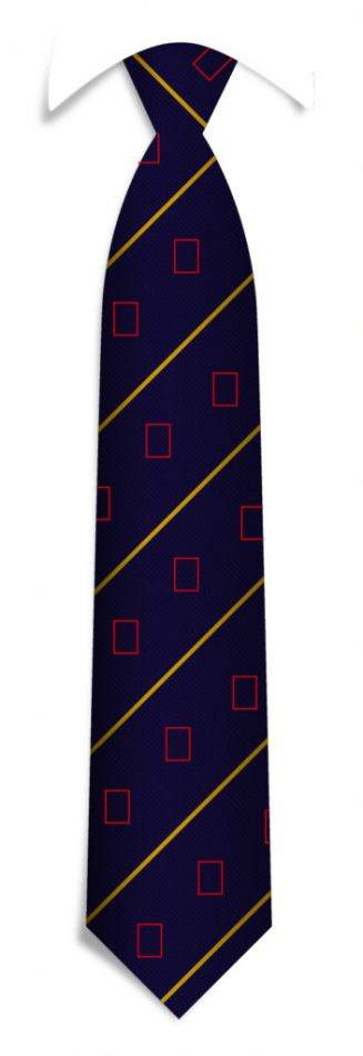 Bespoke striped ties with recurring logos, custom ties in a personalized design