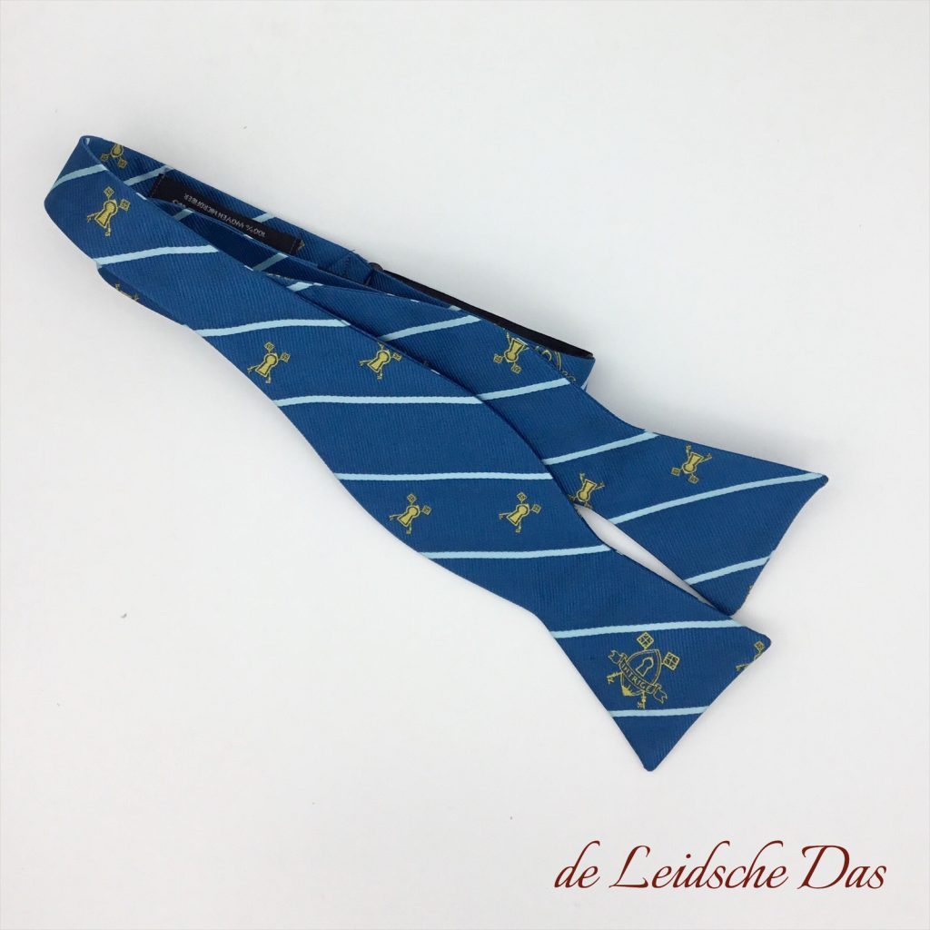 Self-tie bow ties in a custom made design with logos, custom logo bow ties