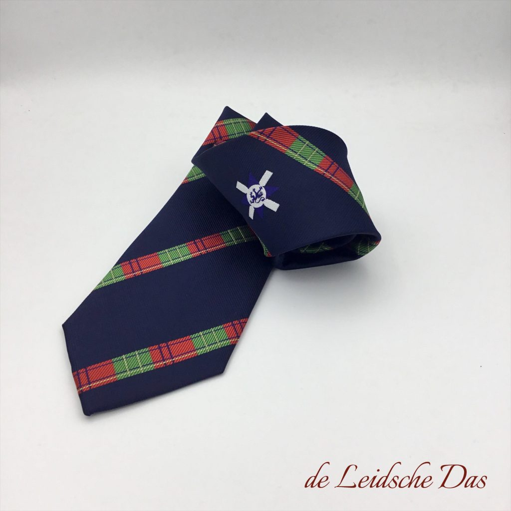 Bespoke logo tie woven in a custom pattern with logo in the middle, custom ties with your emblem