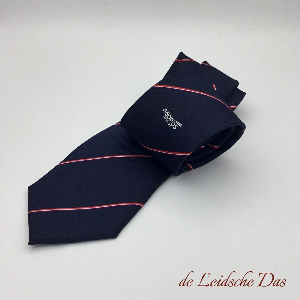 Custom woven personalised ties we made for a rowing club in club colors and club logo