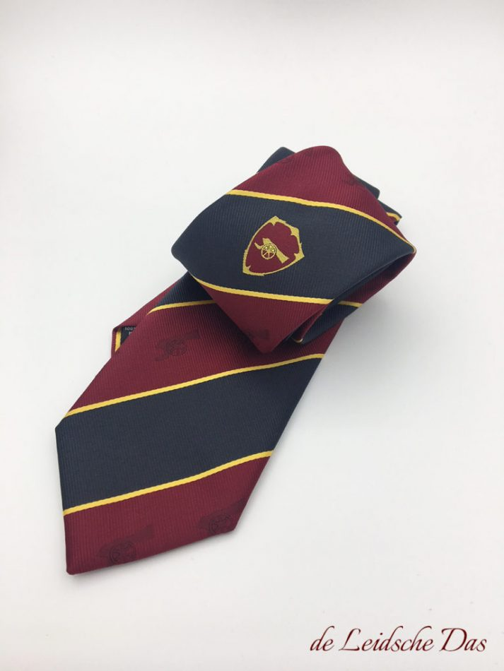 Classic striped custom necktie with logo custom woven in burgundy red and black with yellow lines