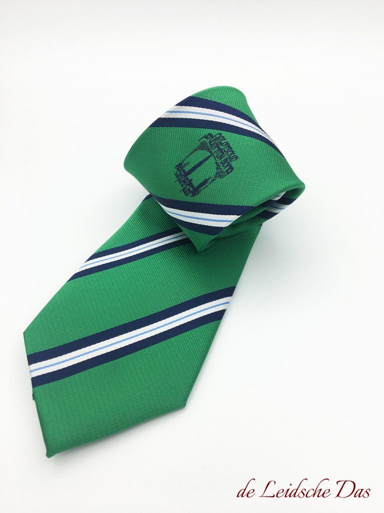 Striped custom necktie with logo woven in fun green, stripes in navy blue light blue and white