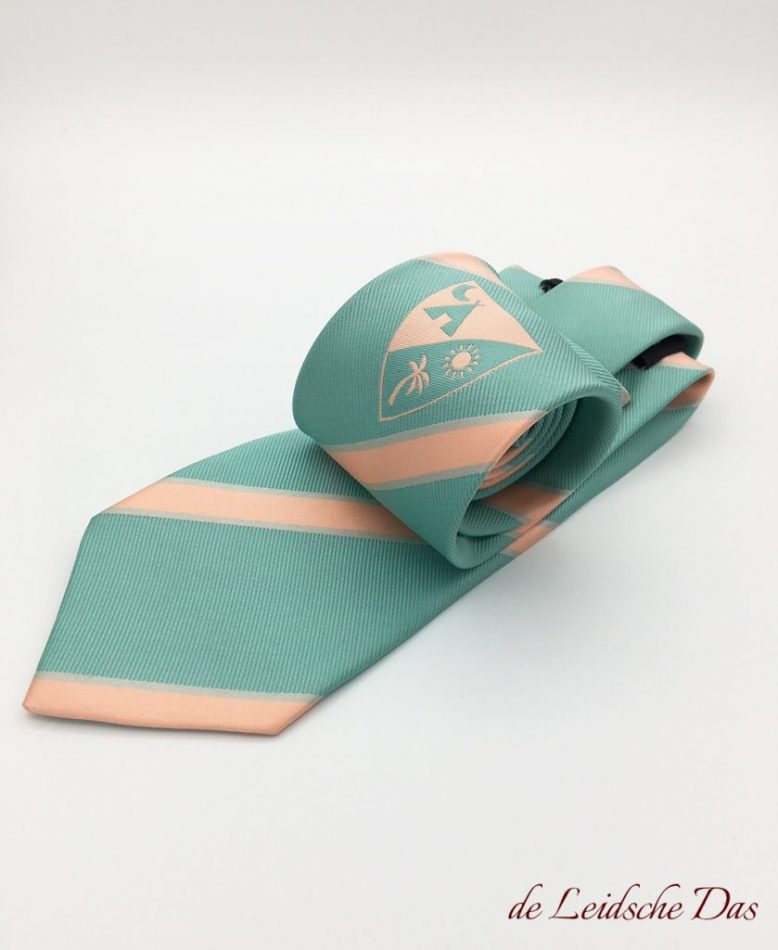 Striped custom necktie with logo custom woven in pastel colors, custom neckties made to order