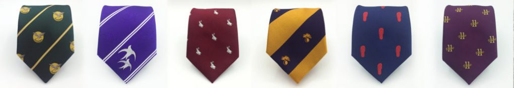Ties woven in a custom tie design with your crest, logo, emblem or coat of arms